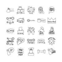 paquete de veinticinco iconos de estilo de línea de letras de campaña vector