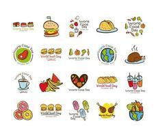 paquete de veinte iconos de estilo plano de letras de celebración del día mundial de la comida vector