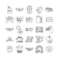 paquete de veinticinco iconos de colección de estilo de línea de letras de campaña vector
