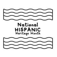 Letras de herencia nacional hispana con icono de estilo de línea de banderas vector