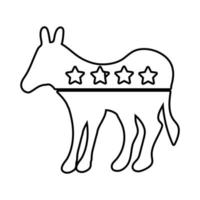 democrat donkey with stars usa election line style icon vector
