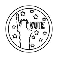vote word and liberty statue usa elections line style icon vector