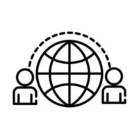 teamworkers with sphere browser coworking line style icon vector