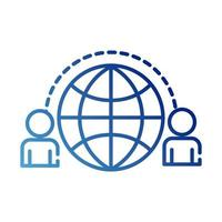 teamworkers with sphere browser coworking gradient style icon vector