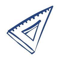 icono de estilo de forma libre de suministro escolar de regla de triángulo vector