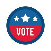 voto palabra en sello de círculo elecciones de Estados Unidos icono de estilo plano vector