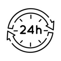 arrows with 24 hours line style icon vector