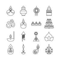 bundle of sixteen diwali set line style vector