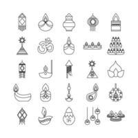 paquete de veinticinco iconos de estilo de línea de diwali vector