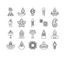 paquete de veinte iconos de estilo de línea de diwali vector