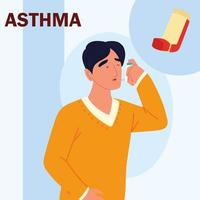 sick asthmatic man vector