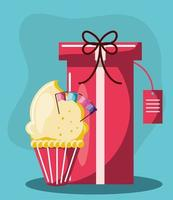 birthday cupcake gift vector