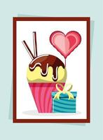 birthday sweet cupcake vector