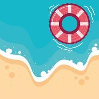 summer beach lifebuoy vector