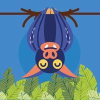 bat hanging branch vector