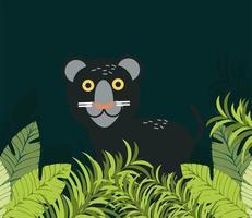 panther jungle foliage vector