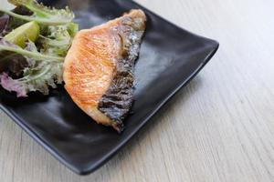 Salted Grilled Salmon Steak  Japanese food photo