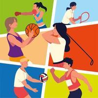 personas diferentes deportes vector