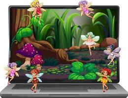Many cute fairies on laptop screen vector