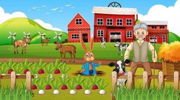 Farm at daytime scene with old farmer man and farm animals vector