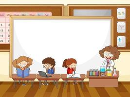 Classroom scene with blank banner and many kids doodle cartoon character vector