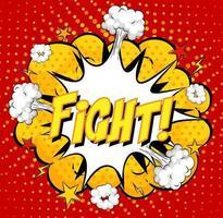 Lucha contra el texto en la explosión de una nube cómica sobre fondo rojo. vector
