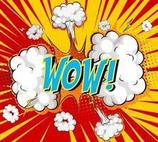 Word wow sobre fondo de explosión de nube cómica vector