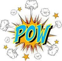 palabra pow sobre fondo de explosión de nube cómica vector
