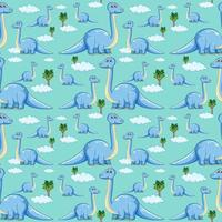 Seamless pattern with brachiosaurus dinosaurs and tree on blue background vector