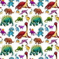 Seamless pattern with various dinosaurs on white background vector