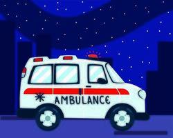 ambulance transport night vector