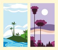 landscape twilight tropical vector