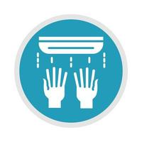 new normal use hand dryer after coronavirus disease covid 19 blue silhouette icon vector