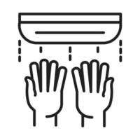 new normal use hand dryer after coronavirus disease covid 19 linear icon style vector