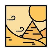 landscape desert pyramid wind sun sand cartoon line and fill style vector