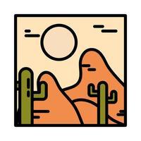 landscape arid desert cactus sun wild line and fill style vector