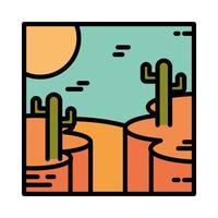 landscape desert with rocky canyon cactus sun cartoon line and fill style vector