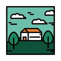 landscape house meadow tree sky clouds nature cartoon line and fill style vector