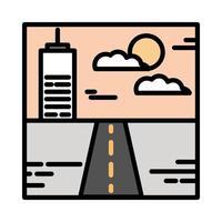 landscape urban building street sky clouds sun cartoon line and fill style vector