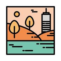 landscape urban building hills trees water scene cartoon line and fill style vector