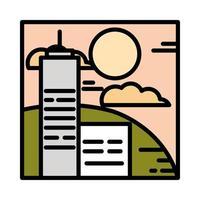 landscape buildings urban hills sky clouds sun cartoon line and fill style vector