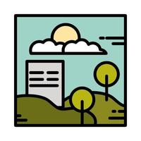 landscape building urban trees hills clouds sun sky panoramic line and fill style vector