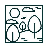 landscape forest trees desert clouds sun cartoon line icon style vector
