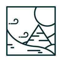 landscape desert pyramid wind sun sand cartoon line icon style vector