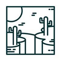 landscape desert with rocky canyon cactus sun cartoon line icon style vector
