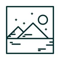 landscape mountains night moon nature cartoon line icon style vector