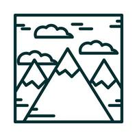 landscape mountains peak alps snow nature cartoon line icon style vector