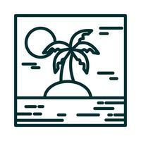 landscape tropical island palm tree sun cartoon line icon style vector