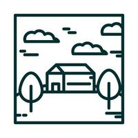 landscape house meadow tree sky clouds nature cartoon line icon style vector