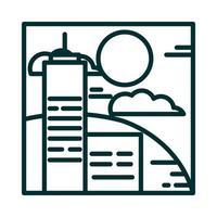 landscape buildings urban hills sky clouds sun cartoon line icon style vector
